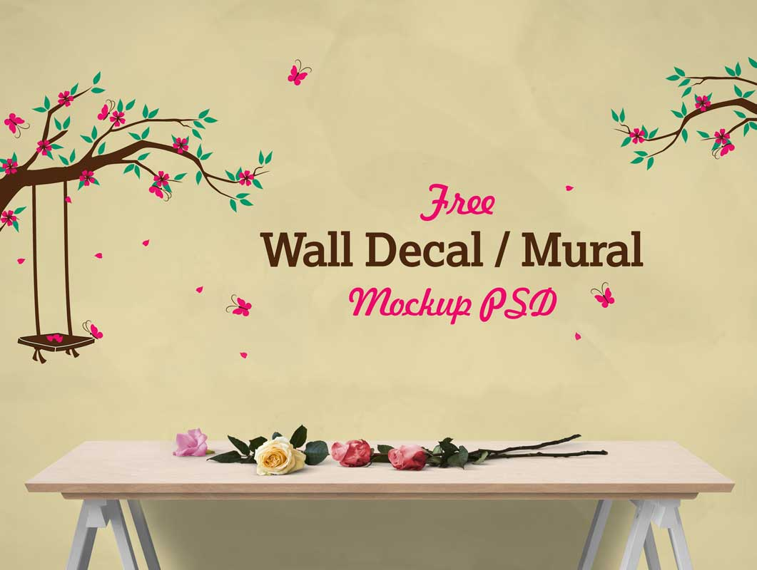 Bedroom Wall Mural Vinyl Decal PSD Mockup