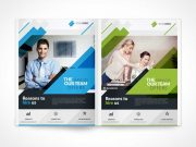 Bi-Fold Brochure Left & Right Panels Face-On PSD Mockup