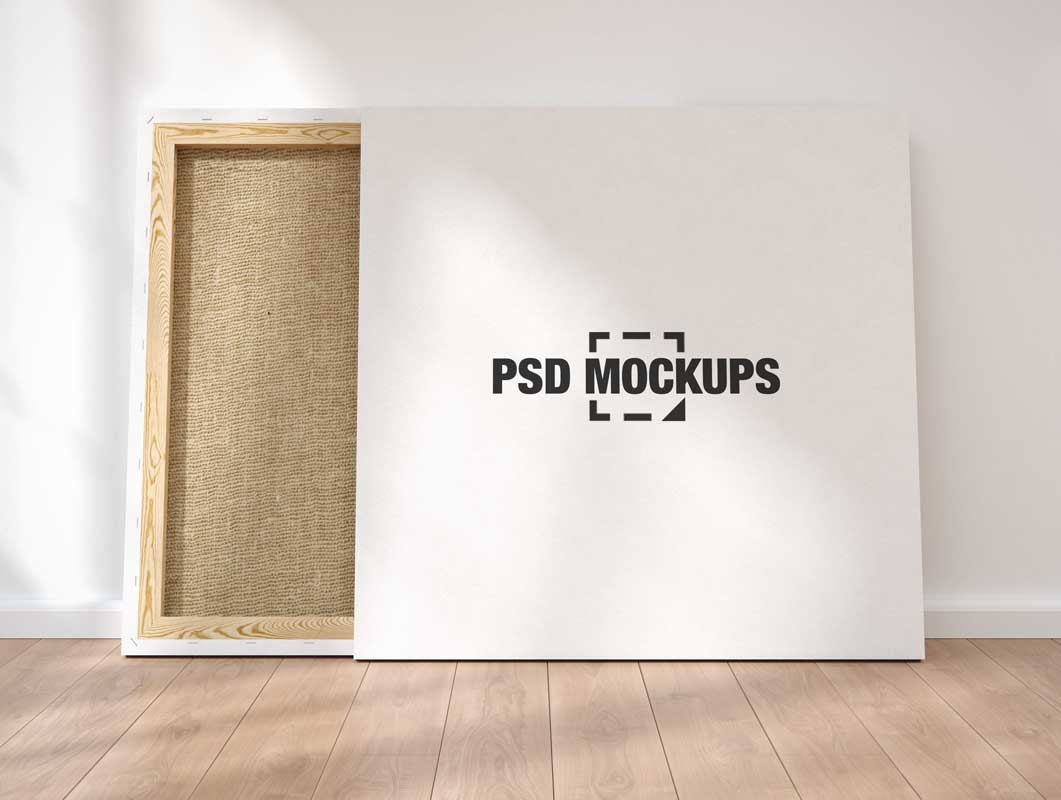 Blank Wood Framed Square Canvas PSD Mockup