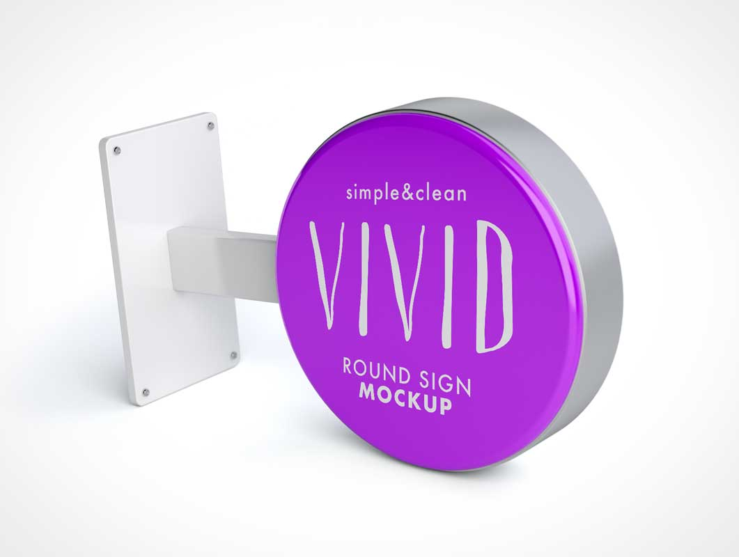 Boutique Round Blade Signage PSD Mockup