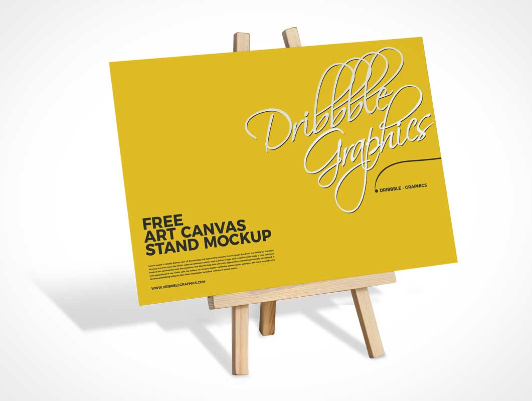 Bristol Board Canvas & A-Frame Stand PSD Mockup