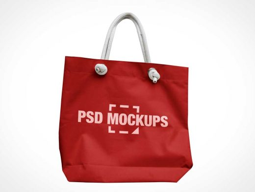 Canvas Handbag & Rope Handles PSD Mockup