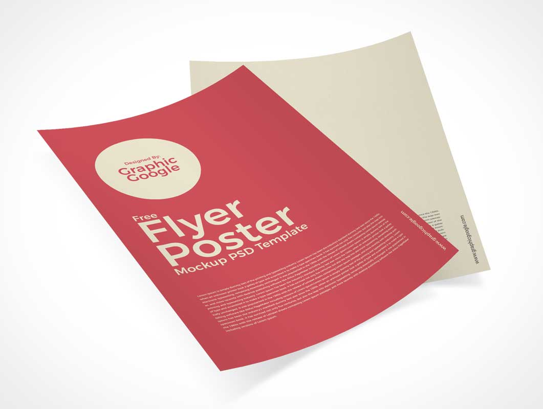 Curled A4 Pair Flyer Brochures PSD Mockup