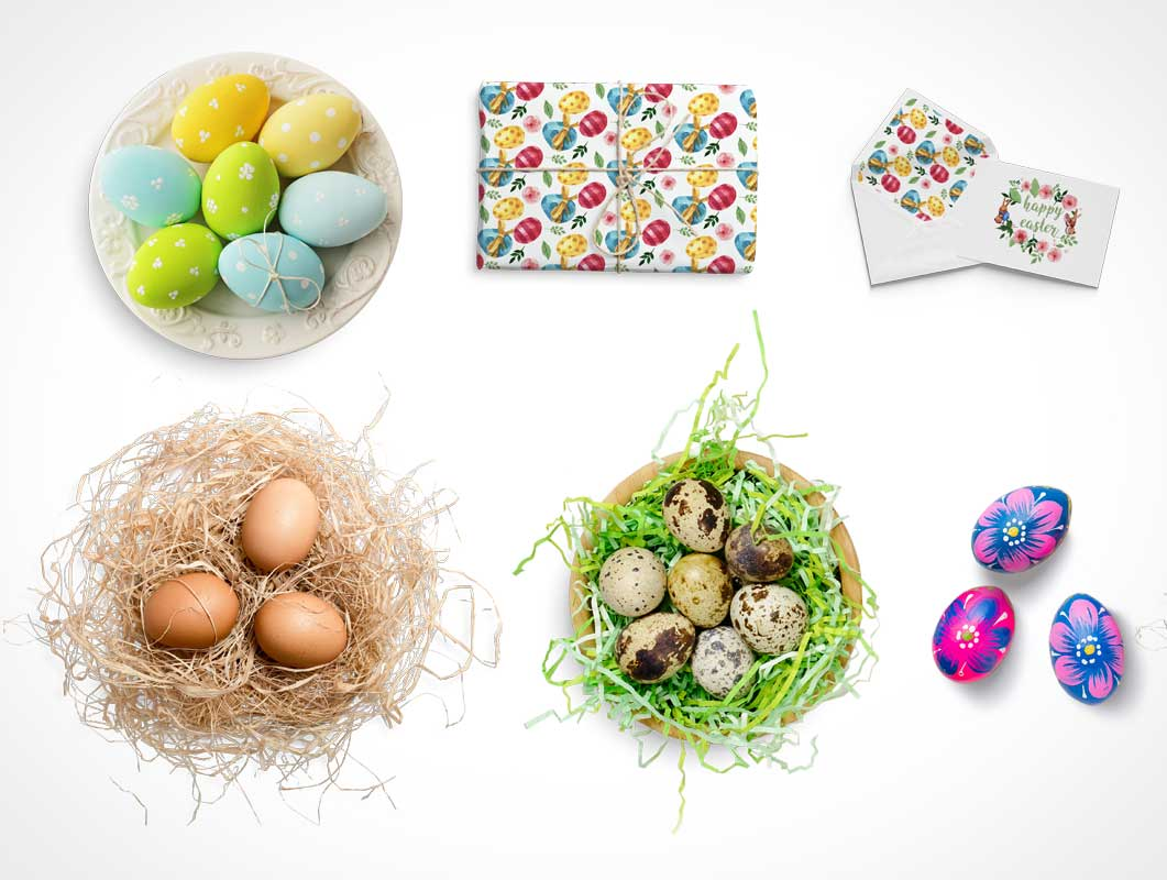 Decorative Easter Egg Nests, Greeting Cards & Flowers PSD Mockup