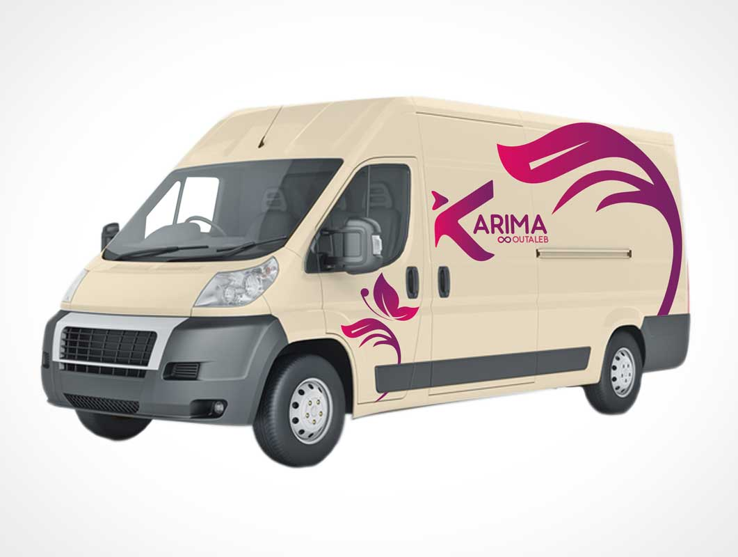 Delivery Van Truck PSD Mockup