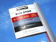Directional Commercial Sign Post PSD Mockup