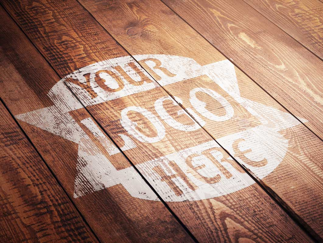Distressed Wood Painted Stencil Logo PSD Mockup