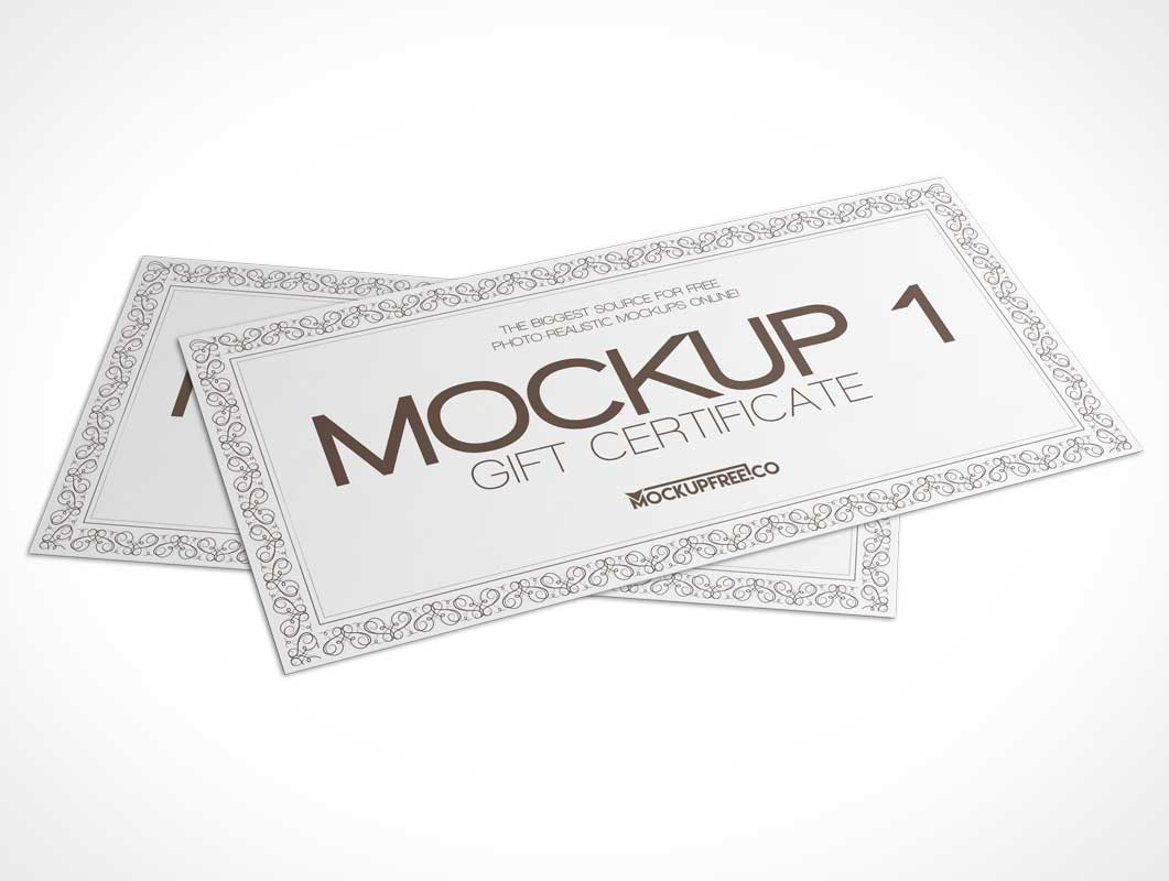 Dual Gift Cards Certificate Pack PSD Mockup