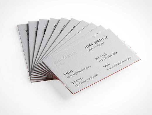 Embossed Lettering Business Card Stack PSD Mockup