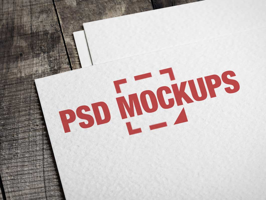 Embossed Logo Printing Business Card Front PSD Mockup