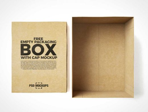 Empty File Box Storage & Cover Lid PSD Mockup