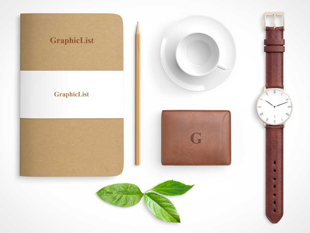Executive's Stationery Bundle Includes Watch, Notebook & Notepad PSD Mockup