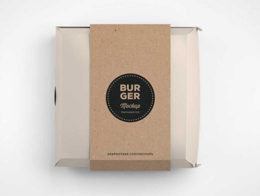 Fast Food Hamburger Packaging PSD Mockup