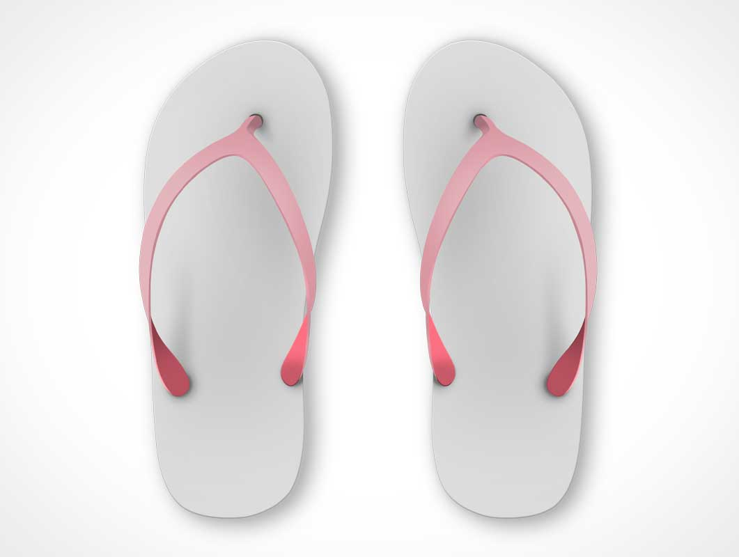 Flip-Flop Beach Sandals Left & Right Shoes PSD Mockup