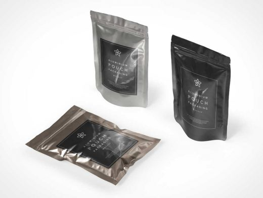 Foil Metallic Pouch Packaging PSD Mockup