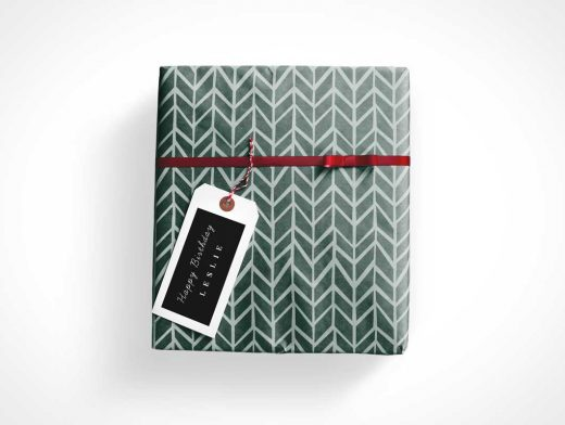 Gift Wrapped Box, Red Bow & Tag Label PSD Mockup