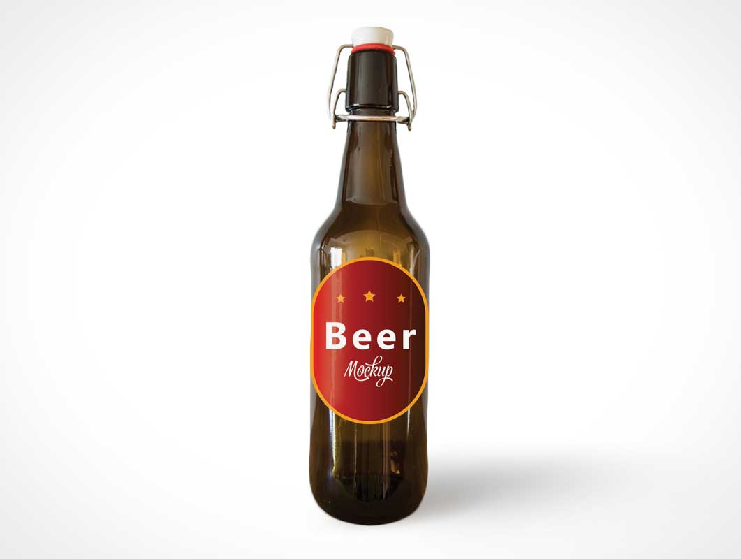Glass Beer Swing Bottle & Label PSD Mockup