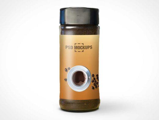 Glass Coffee Jar Bottle & Twist Cap PSD Mockup