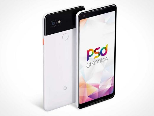 Google Pixel 2XL Android Smartphone Front & Back PSD Mockup