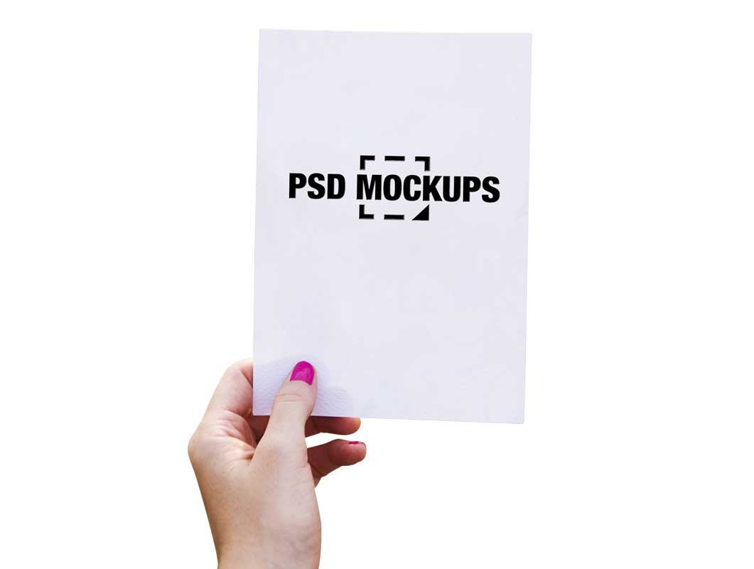Hand Holding Paper Stencil Cutout PSD Mockup