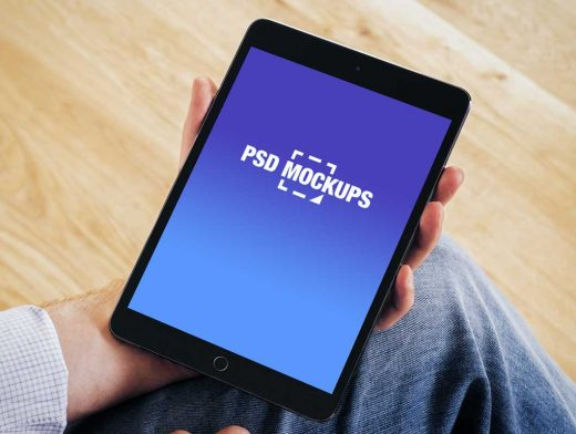 Handheld iPad Mini Home Screen PSD Mockup