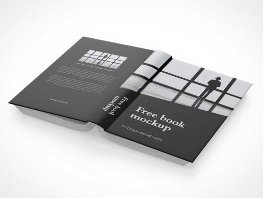 Hardcover Book Back, Spine & Front Covers PSD Mockup