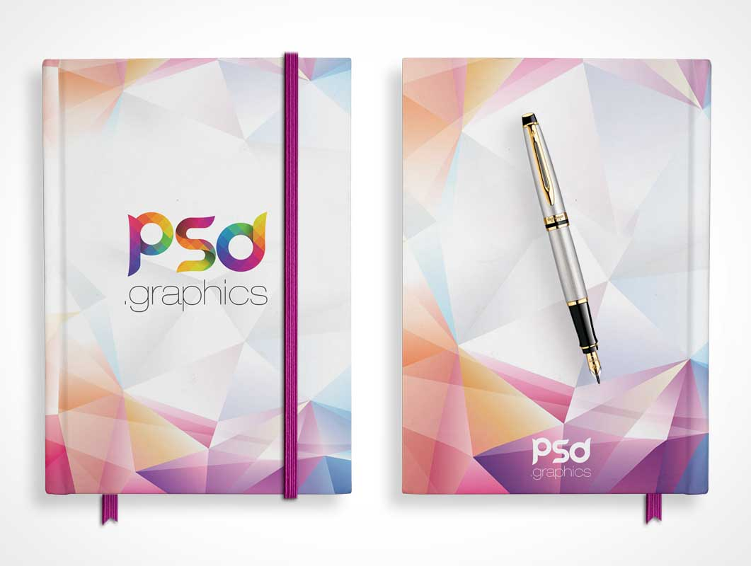 Hardcover Notepad Front, Back Covers & Fountain Pen PSD Mockup