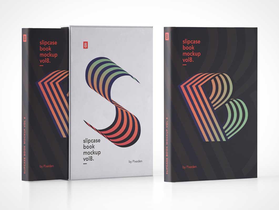 Hardcover Slipcase & Books PSD Mockup