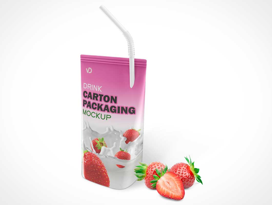 Juice Pouch Carton & Piercing Straw PSD Mockup