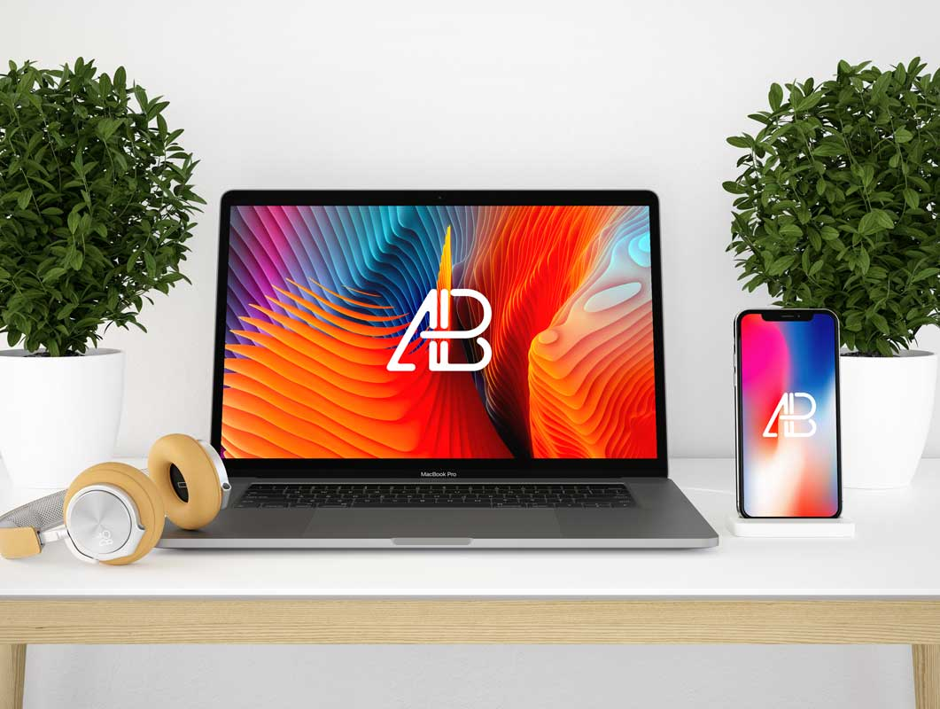 Macbook Pro Workspace Desk, iPhone X & Headphones PSD Mockup