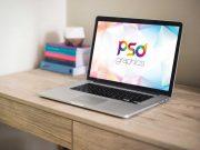 Macbook Workspace Desk & Softcover Books PSD Mockup