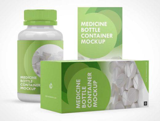 Medicine Pill Bottle, Box Packaging & Child Proof Twist Cap PSD Mockup