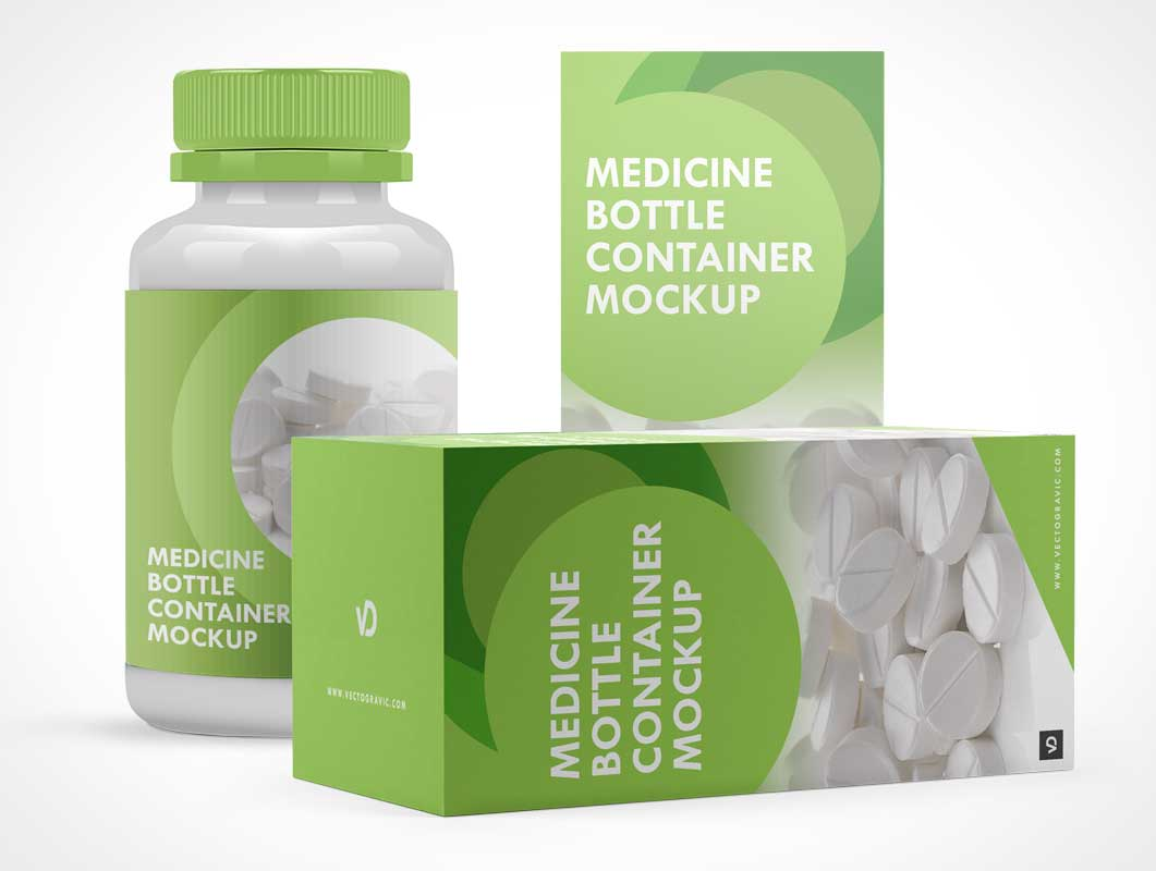 Medicine Pill Bottle, Box Packaging & Child Proof Twist Cap PSD Mockup