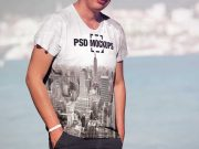 Men's Round Neck Cotton T-Shirt Front & Back PSD Mockup