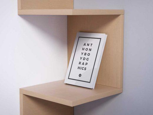 Modern Wooden Bookshelf & Hardcover Book PSD Mockup