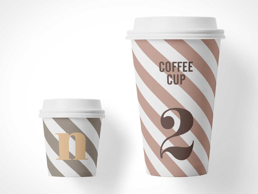 Paper Coffee Cup & Plastic Lid PSD Mockup