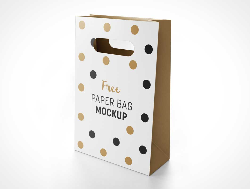 Paper Gift Bag & Carry Handles PSD Mockup