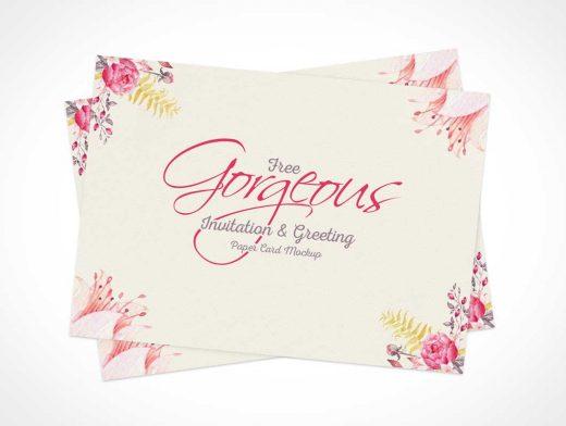 Paper Invitation Greeting Card Front & Back PSD Mockup