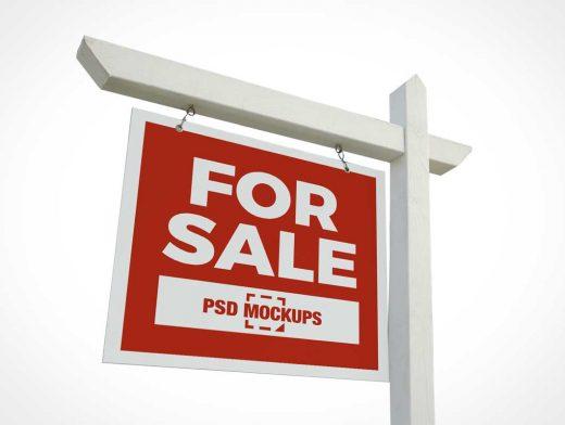 Post & Panel Real-Estate Sign PSD Mockup