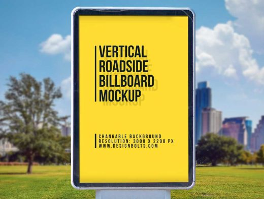 Roadside Framed Portrait Billboard PSD Mockup