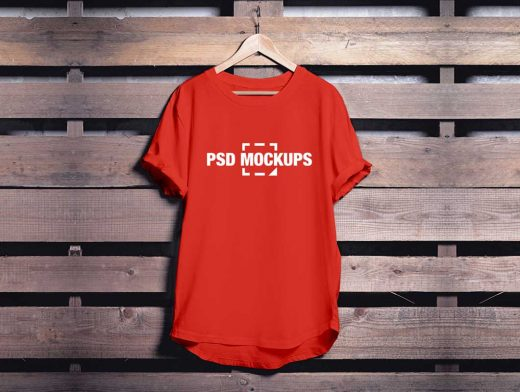 Round Neck T-Shirt Hanging In Closet PSD Mockup