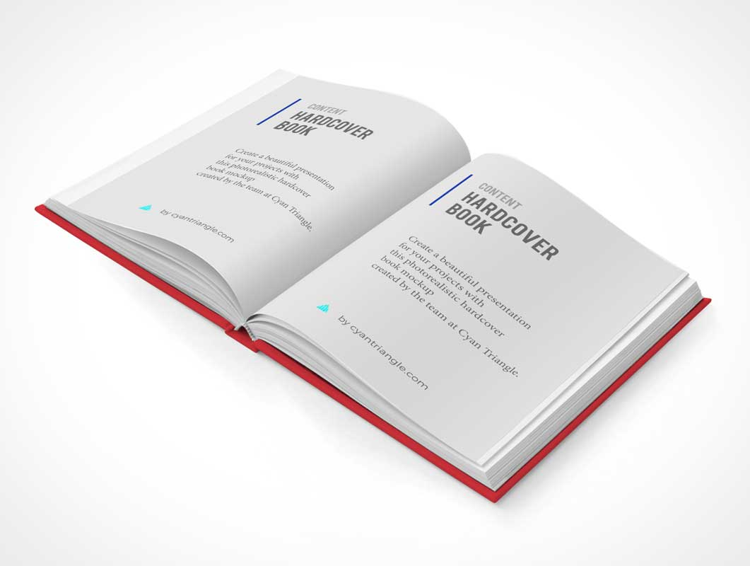 Sleeved Hardcover Book Front, Back & Inside Pages PSD Mockup
