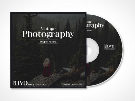 Sleeved Optical Compact Disk DVD PSD Mockup