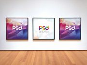 Square Frame Photo Gallery PSD Mockup