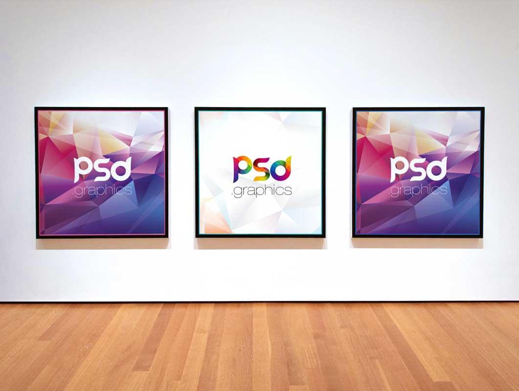 Square Frame Photo Gallery PSD Mockup