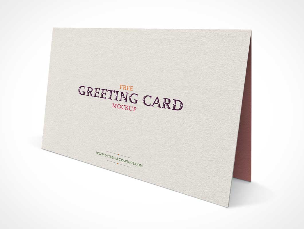 Standing Landscape Greeting Card Front Panel PSD Mockup