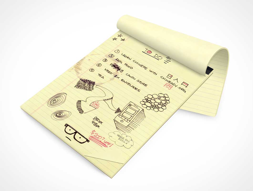 Stationery Note Pad & Rolled Cover PSD Mockup