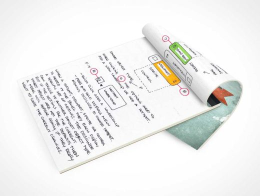 Stationery Sketch Pad Side View PSD Mockup