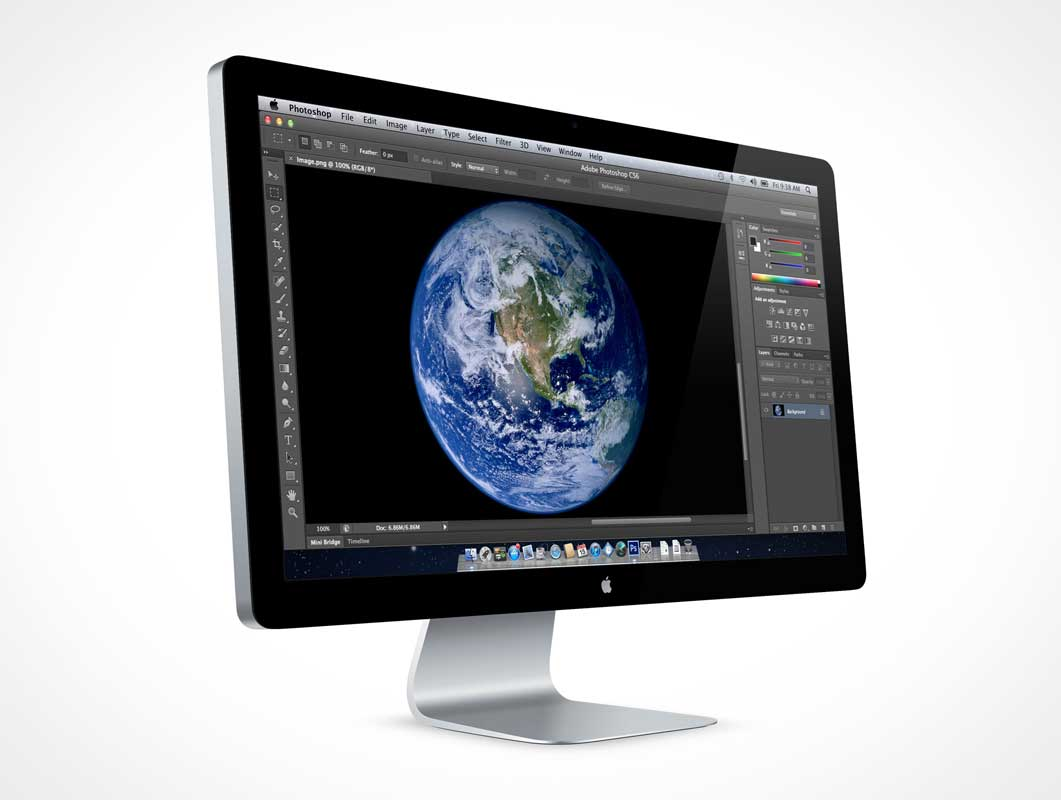 Thunderbolt 27in Computer Screen PSD Mockup
