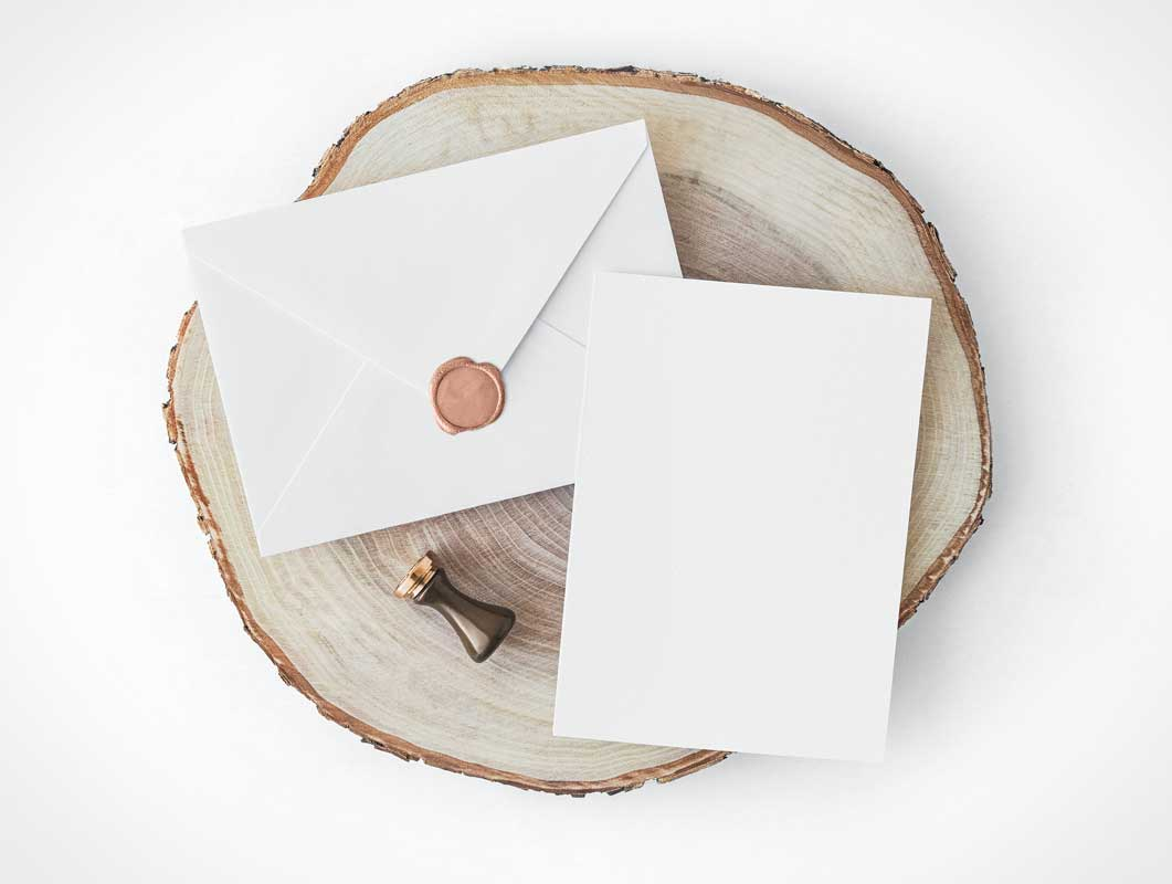Wax Sealed Envelope & Invitation Card PSD Mockup
